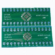 Плата переходник AQN28P0504 QFN28 4x4/5x5mm 0.4/0.5mm