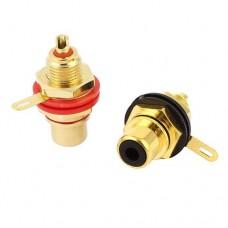 Штекер RCA GOLD 24K черный металлический корпус на кабель NYS373-0