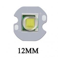 Cвітлодіод білий холодний  XM-L2 U2 10W 2.85-3.3VDC, 700-3000mA, 5000-8300К, 300-728lm 125° на 12мм радіаторі