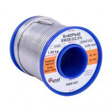 Припой S-Sn60Pb40 LC60  t183°C - 190°C SW26/3/2.5% 3.0mm 1000g