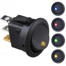 Переключатель KCD1-101EN-8 чёрный с LED индикацией ON-OFF SPST, 10000 циклов, (3p), 6A 250VAC