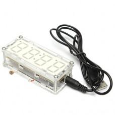 Радиоконструктор часы-термометр электронные в акриловом корпусе красная подсветка 5VDC