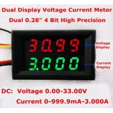 Цифровой амперметр вольтметр DC 0-33V 0.000-3.000A 0.3% 15 мА LED 0.28