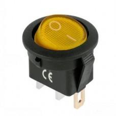 Переключатель IRS-101-8C c подсветкой желтый ON-OFF (3p), 10000 циклов, 6A 250VAC