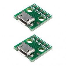 Micro USB-F розетка на плате 2,54 мм для монтажа