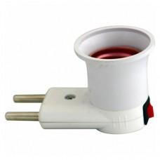 Переходник вилка-Е27 с выключателем, LMA035 белый