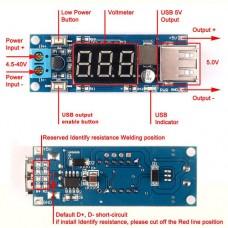 Импульсный модуль питания DC-DC понижающий Input: DC6.6-40V Output: DC5V 2A з вольтметром + USB выход