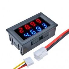 Цифровой амперметр вольтметр TK1382 DC 0-100V 10A Red & Blue LED высокой точности