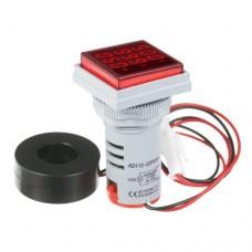 Амперметр-вольтметр цифровий AD16-22FVA 60-500VAC 0-100A червоне підсвітлення
