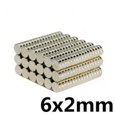 Магнит неодимовый NdFeB N35 вес 0.453 гр 6x2mm диск