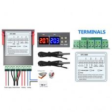 Терморегулятор STC-3008 110-220VAC 10A 2кВт на 2 реле -55 ~ +120°C с выносными датчиками NTC 10 kOhm
