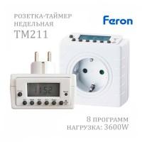 Таймер-розетка электронный Feron TM211 недельный 220VAC 3600Вт 16A точность 1 минута