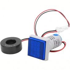 Амперметр-вольтметр цифровий AD16-22FVA 60-500VAC 0-100A синій