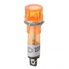 Лампа индикаторная неоновая XD10-3 в пластиковом корпусе, с выводами 220VAC, желтая