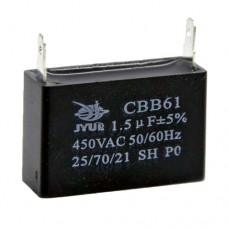 Пусковой конденсатор 1.5uF 400/450V +/-5% 50/60Hz -25...+85°C CBB61