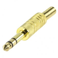 Штекер Jack стерео 6.3mm, металлический корпус GOLD