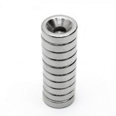Магнит неодимовый NdFeB N35 с отверстием D3mm вес 1.2 г, сила 1 кг