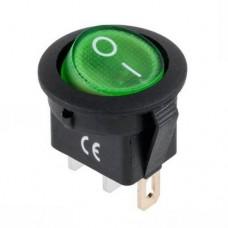 Переключатель KCD1-101N-8 c подсветкой зеленый ON-OFF (3p), 10000 циклов, 6A 250VAC