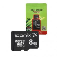 Карта памяти ICONIX MicroSDHC 8GB Class 10 + SD-adapter
