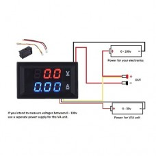 Цифровой амперметр вольтметр TK1382 DC 0-100V 10A Red & Blue LED
